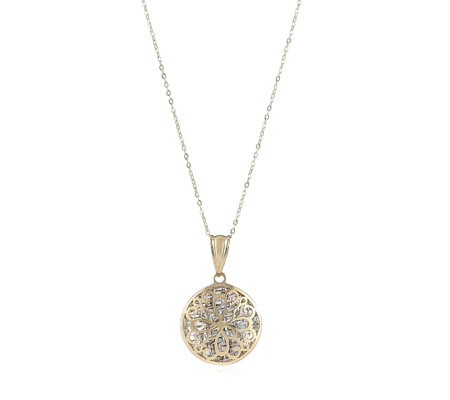 9ct Gold Bi Colour Filigree Puff Pendant & Chain