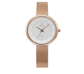 Obaku Ladies Lys Solar Mesh Strap Watch - 316016