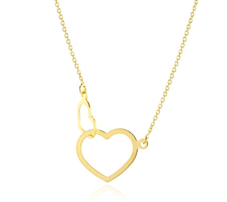 "9ct Gold Linked Hearts 18"" Necklace"