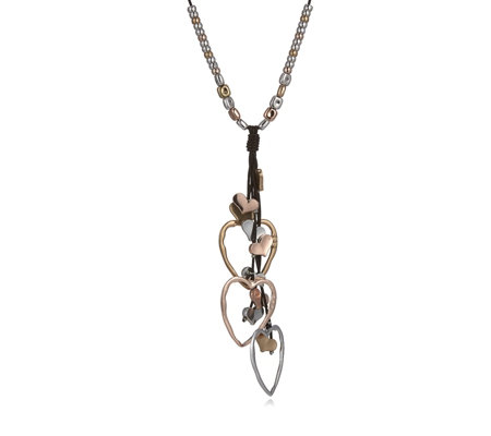 Frank Usher Heart Charm Leather 80cm Necklace