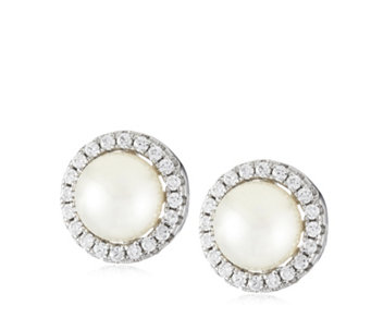 Diamonique 0.4ct tw Simulated Pearl Earrings Sterling Silver - 308018