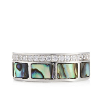 Diamonique 0.19ct tw Mother of Pearl Band Ring Sterling Silver - 308918