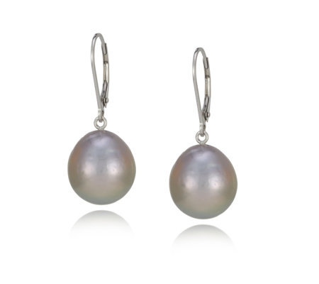 Honora 12-14mm Cultured Ming Pearl Leverback Earrings Sterling Silver