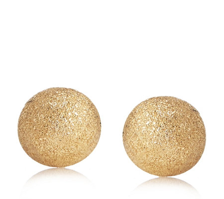 9ct Gold Sparkle Finish 8mm Stud Earrings with Flock Bauble