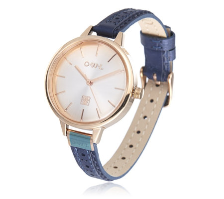O.W.L Dome Face Leather Strap Watch
