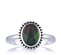 Canadian Ammolite Triplet Oval Rope Edge Ring Sterling Silver - 308420