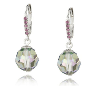 Crystal Glamour with Swarovski Crystals Metallic Faceted Leverback Earrings - 313920