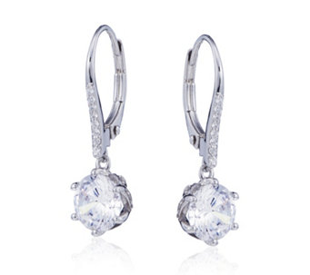Diamonique 3.2ct tw Mixed Plate Leverback Earrings Sterling Silver - 321220