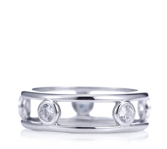 Diamonique 0.5ct tw Platinum Plated Band Ring Sterling Silver - 309721
