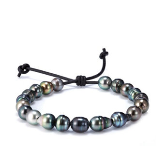 9-10mm Cultured Round Tahitian Pearl Adjustable Leather Cord Bracelet - 307822