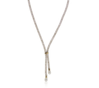 Honora 7-7.5mm Cultured Pearl & Crystal Mesh Lariat Necklace Stainless Steel - 310022