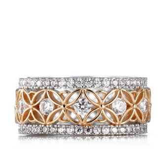 Diamonique 1.5ct tw 2 Tone Filigree Band Ring Sterling Silver - 312822