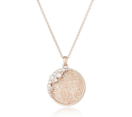 Crystal Glamour with Swarovski Crystals Circle Pendant 82cm Necklace