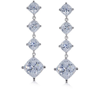 Michelle Mone for Diamonique 8.9ct tw Cushion Cut Earrings Sterling Silver - 320222
