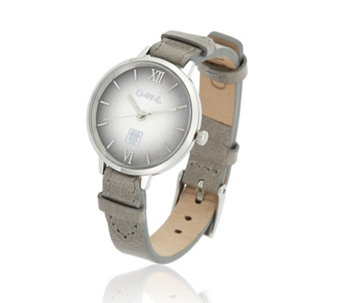 O.W.L Bath Dome Dial Stainless Steel Leather Strap Watch - 307523