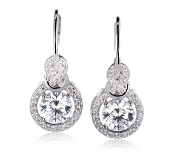 Diamonique 2ct tw Halo Atlantis Cut Earrings Sterling Silver - 308223