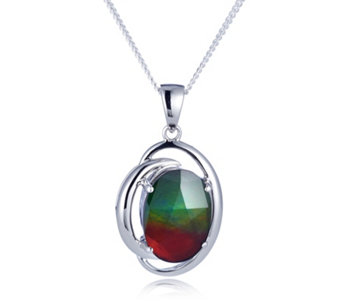 Canadian Ammolite Oval Pendant & Chain Sterling Silver - 308423