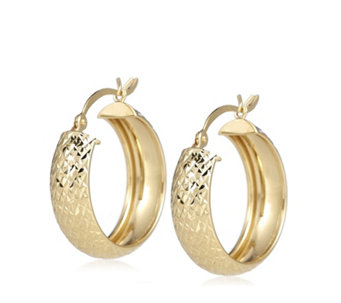 9ct Gold Pineapple Cut Hoop Earrings - 320123