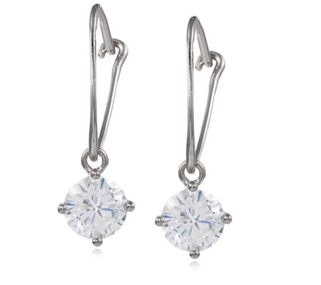 Diamonique 2ct tw Leverback Drop Earrings Sterling Silver