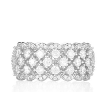 Diamonique 2.8ct tw Scalloped Band Ring Sterling Silver - 320025