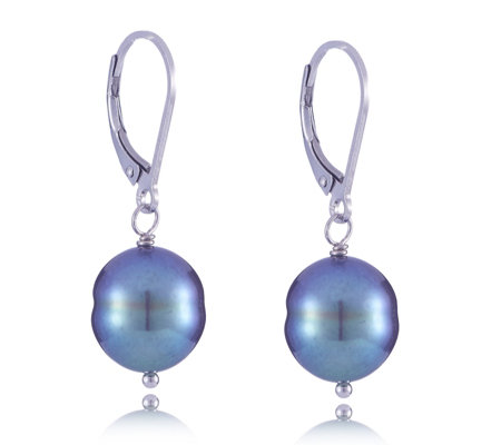 Honora 10-11mm Cultured Ringed Pearl Leverback Earrings Sterling Silver