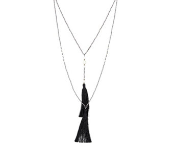 Zacasha Set of 2 Crystal & Cultured Fresh Water Pearl Tassel Necklaces - 306027