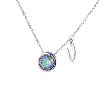"""As Is"" Aurora Swarovski Crystal Initial Charm 52cm Necklace"