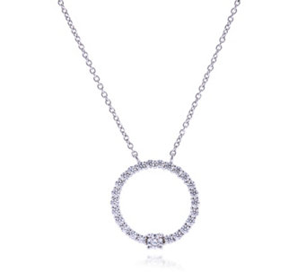 Diamonique 0.8ct tw Round Station Pendant & 41cm Chain Sterling Silver - 308227