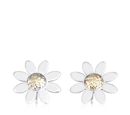 9ct Gold Bi Colour White Daisy Stud Earrings