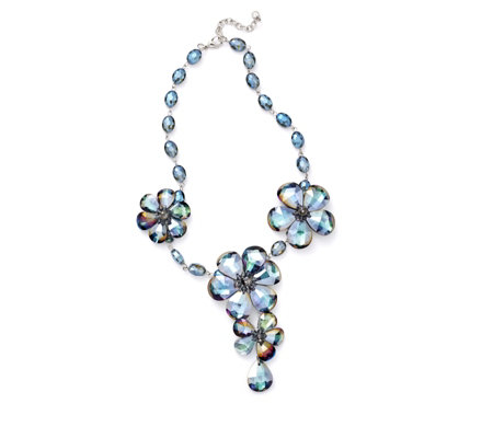 """As Is"" Butler & Wilson Glass Flower 45cm Necklace"