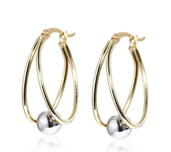9ct Gold Bi Colour Trapped Ball Drop Earrings - 308328