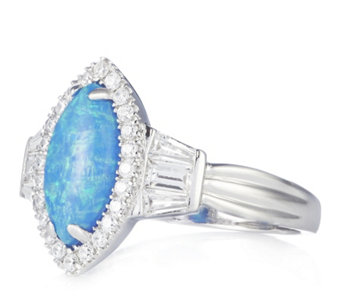 Diamonique 0.3ct tw Simulated Opal Baguette Ring Sterling Silver - 309528