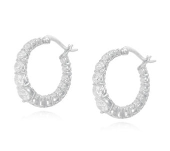 Mice Mone For Diamonique 2 4ct Tw Hoop Earrings Sterling Silver 321730