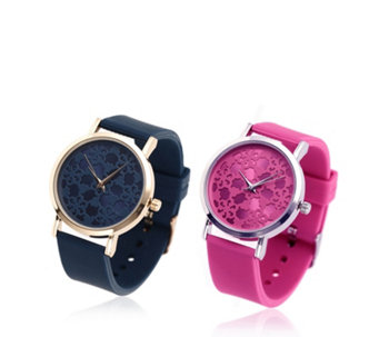 Gossip Set of 2 Silicone Printed Dial Watches - 307231