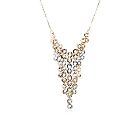 9ct Gold Tri Colour Diamond Cut Bib Necklace