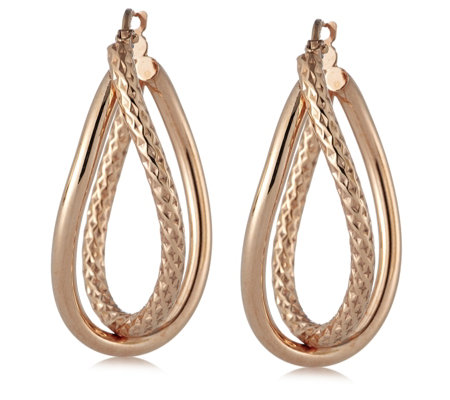 Bronzo Italia Oval Cross Over Hoop Earrings