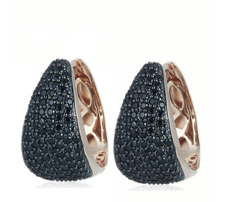 Bronzo Italia Black Spinel Huggie Hoop Earrings