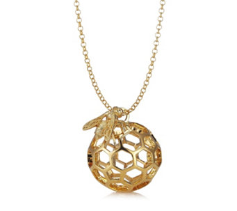 Bill Skinner Honeycomb Bee Pendant & Long 80cm Chain Necklace - 304332