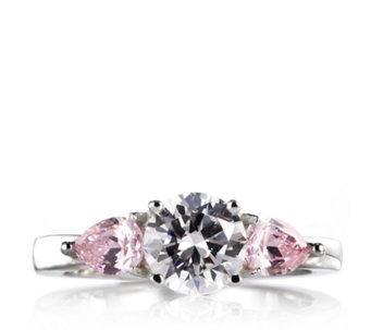 Diamonique 2.5ct tw 3 Stone Ring Sterling Silver - 307432