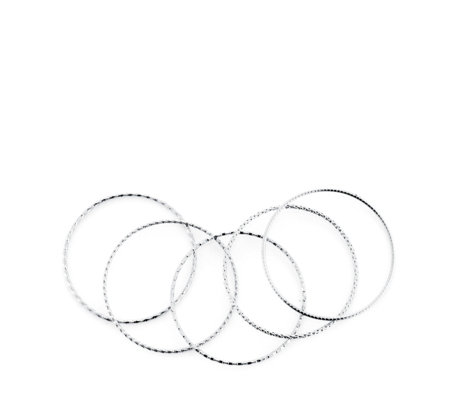 Bronzo Italia Set of 5 Textured Bangles
