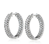 Michelle Mone for Diamonique 2.4ct tw Chevron Hoop Earrings Sterling Silver - 309732