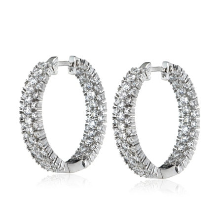 Michelle Mone for Diamonique 2.4ct tw Chevron Hoop Earrings Sterling Silver