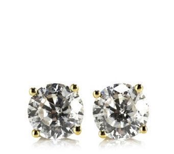 Diamonique 1ct tw 100 Facet Solitaire Stud Earrings 9ct Gold - 310032