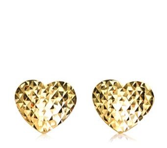 9ct Gold Diamond Cut Heart Stud Earrings - 310233