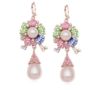 Butler & Wilson Flower Drop Pearl Earrings - 312933