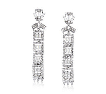 Diamonique by Tova 5.8ct tw Mixed Cut Drop Earrings Sterling Silver - 308534