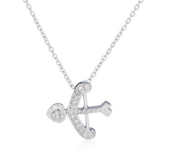 Diamonique 0.2ct tw Bow & Arrow Pendant & 47cm Chain Sterling Silver - 309034