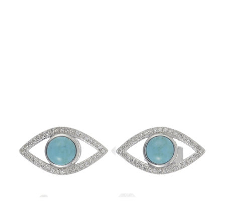 Lisa Snowdon I See You Diamond & Turquoise Earrings Sterling Silver