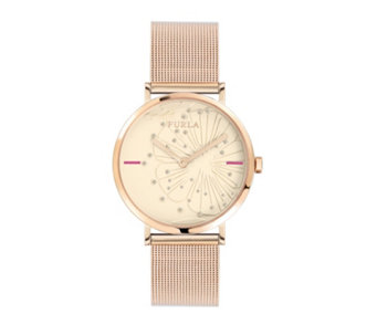 Furla Ladies Giada Scattered Crystal Mesh Strap Watch - 314934