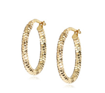 9ct Gold Diamond Cut Hoop Earrings - 308335